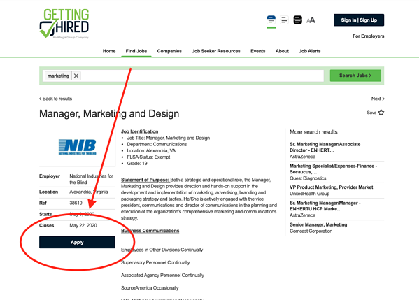 An arrow points to the 'Apply' button to apply for jobs.